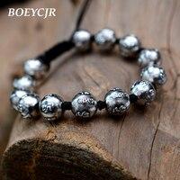 BOEYCJR 100% S999 Silver Mantra Beads Beads Bangles & Bracelets Vintage Jewelry Lucky Energy Buddhist Bracelet For Men or Women