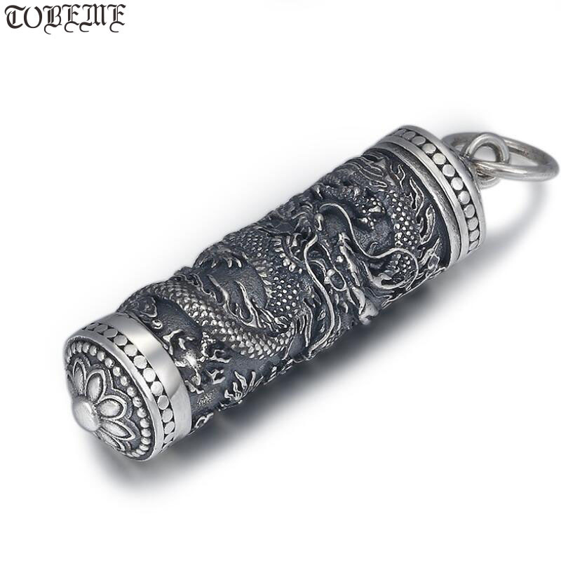 NEW 100 925 Silver Dragon Pendant Tibetan Gau Box Dragon Buddhist Prayer Box Pendant