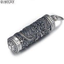 Nowy 100% 925 srebrny smok wisiorek tybetański Gau Box smok buddyjski modlitwa Box wisiorek