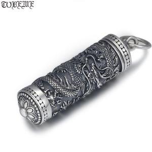 Image 1 - Yeni 100% 925 gümüş ejderha kolye tibet Gau kutusu ejderha budist namaz kutusu kolye