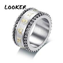 Embossed Sanskrit Mantra Character Vintage Style Tibetan Spinner Ring for Men Stainless Steel Om Mani Padme Hum Male Jewelry