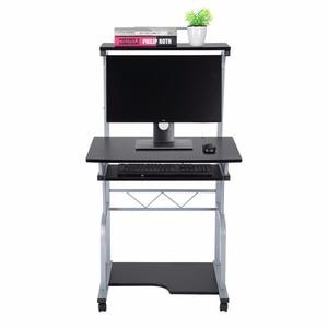 Image 2 - נייד עץ שולחן מחשב מתגלגל נייד Stand תחנת עבודה מחשב נייד שולחן לשימוש ביתי מדף ספרים שילוב אחסון מדף