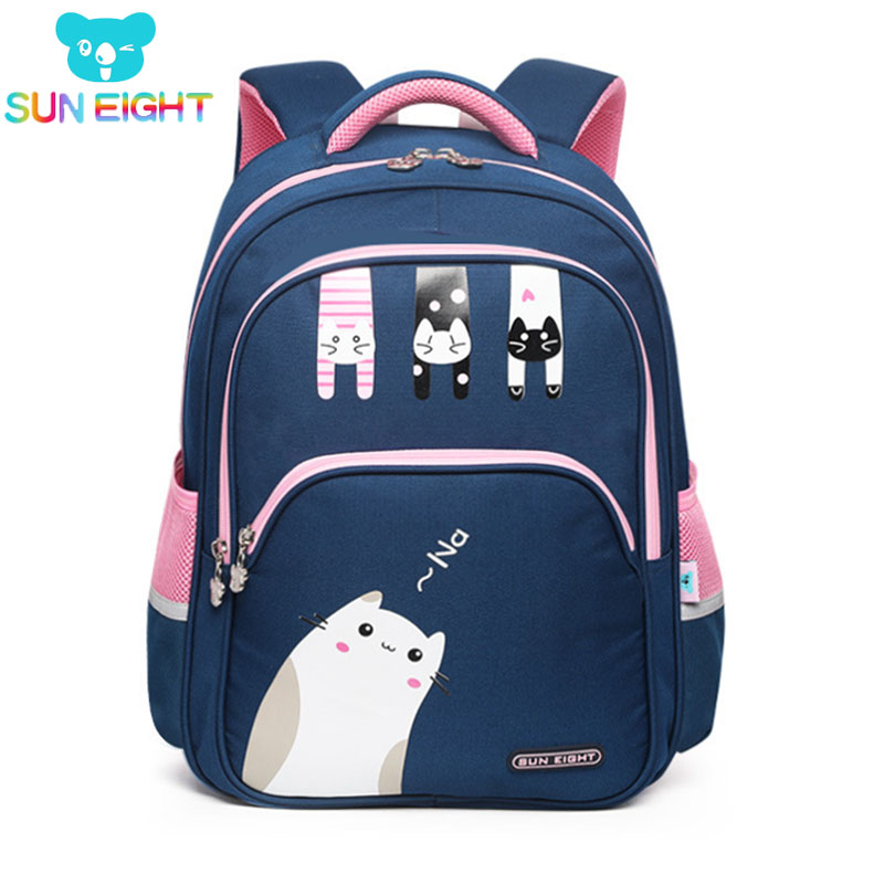 SUN EIGHT Lovely Cat New Arrival 2019 Girl School Backpacks School Bags For Little Girls School Bag Kids Bags 3-4 Grade