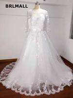 2018 Simple Wedding Dresses Custom Made Tulle Lace A Lin Cheap PLus Size Three Quarter New Arrival Bridal Gowns