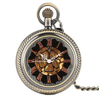 Gift Fob Classic Chain Fashion Trendy Pocket Watch Luxury Carving Men Steampunk Pendant Skeleton Mechanical Vintage