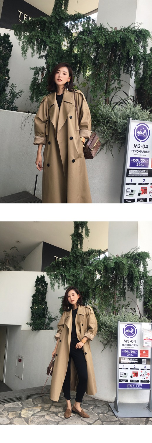 khaki Trench Coat Casual women's long Outerwear loose clothes for lady with belt spring autumn fashion high quality army green 22