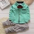 Niños Ropa Niños Ropa set 2 unids Algodón Shirt + niños pantalones Niño Niños Ropa Niños Trajes Ropa Del Bebé Fijaron 2017