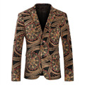 Mens Velvet Floral Blazers And Suit Jacket Size M-4XL Korean Style Designer Single Breasted Print Slim Fit Men Casual Blazers