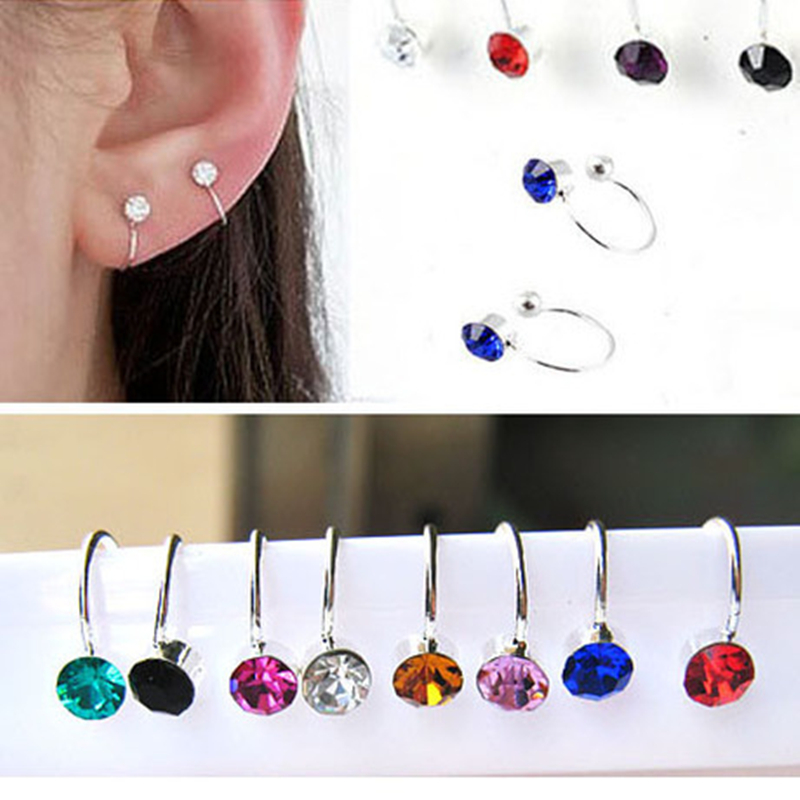 Hot Sale 17 Colors Clip On Earrings For Women 4mm Crystal Ear Cuff Jewelry Fake Piercing Zinc Alloy Ear Clips Oringe Girl Gift