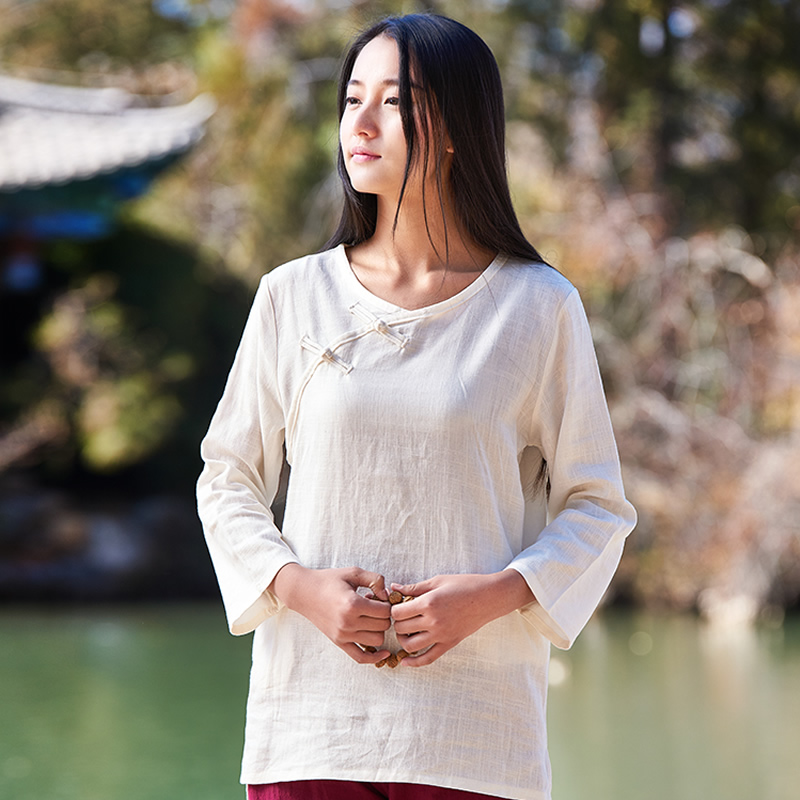 Buy Solid O Neck Chinese Style Linen