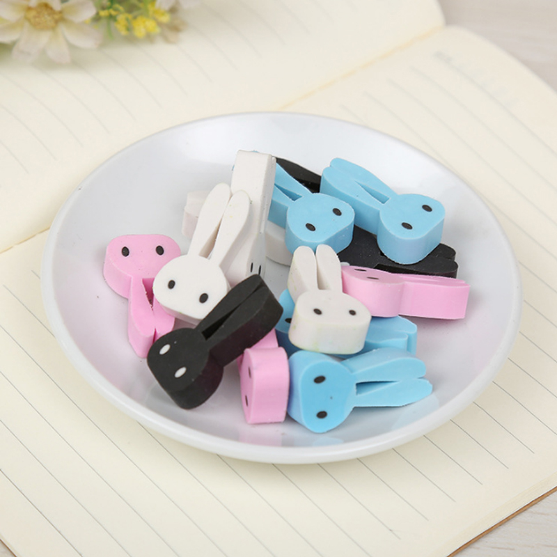 4pcs/lot Kawaii Long Eared Rabbit Eraser School Office Rubber Eraser Collection Decoration Child Pencil Correction Supplies