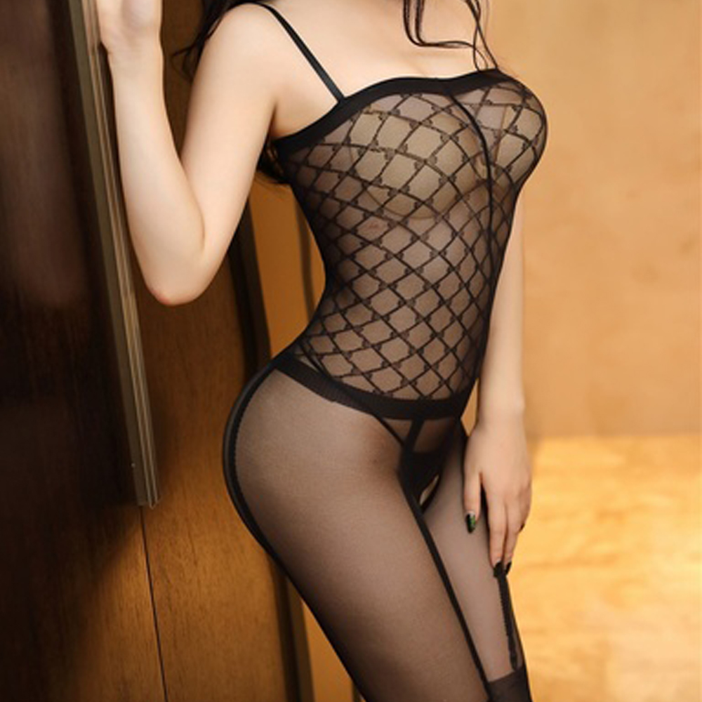 Women sexy lingerie sheer lace bodysuit women backless transparent mesh sexy jumpsuit catsuit straps bodysuits