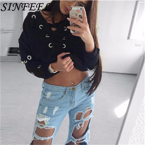 SINFEEL Tracksuit Women Sexy Harajuku Hoodies Short Pullover Jumper Long Sleeve Crop Tops Bandage Sweatshirts clothes sudadera