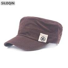 купить SILOQIN Snapback Flat Caps For Men Adjustable Size Men's Cap Fashion Cotton Army Military Hats Male Bone Brands Visor Hat NEW онлайн