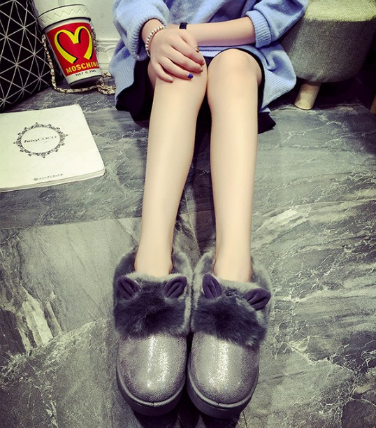 Women Fur Cotton-padded Shoes Flat Rabbit Ears Short Boots 2016 Winter Snow Boots  Ankle Boots Fashion Women's Shoes botas mujer