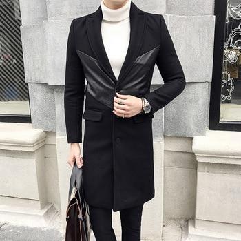 Estilo britânico de Moda Patchwork Mens Engrossar Casaco de Inverno Slim Fit Único Breasted Misturas De Lã Longo Casaco Manteau Homme