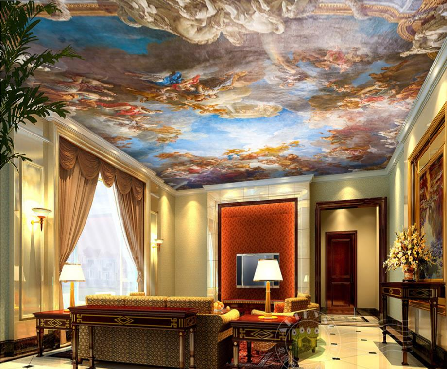 Europischen Tapeten Wohnkultur 3D Decke Tapete Blauen Himmel Und Weisse Wolken Wandbilder Fr Wohnzimmer Deckenplatten