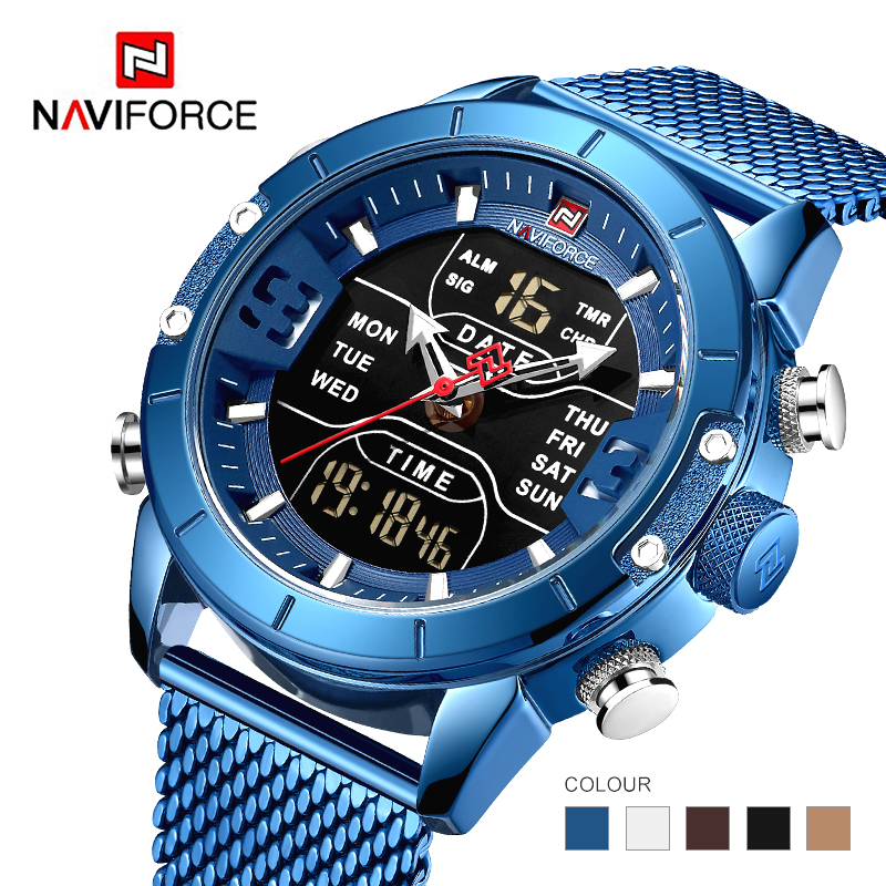Naviforce 2019 New 9153 Sport Digital Military Men Watch Top Brand Luxury Steel Strap Wristwatch Relogio Masculino Montre Homme