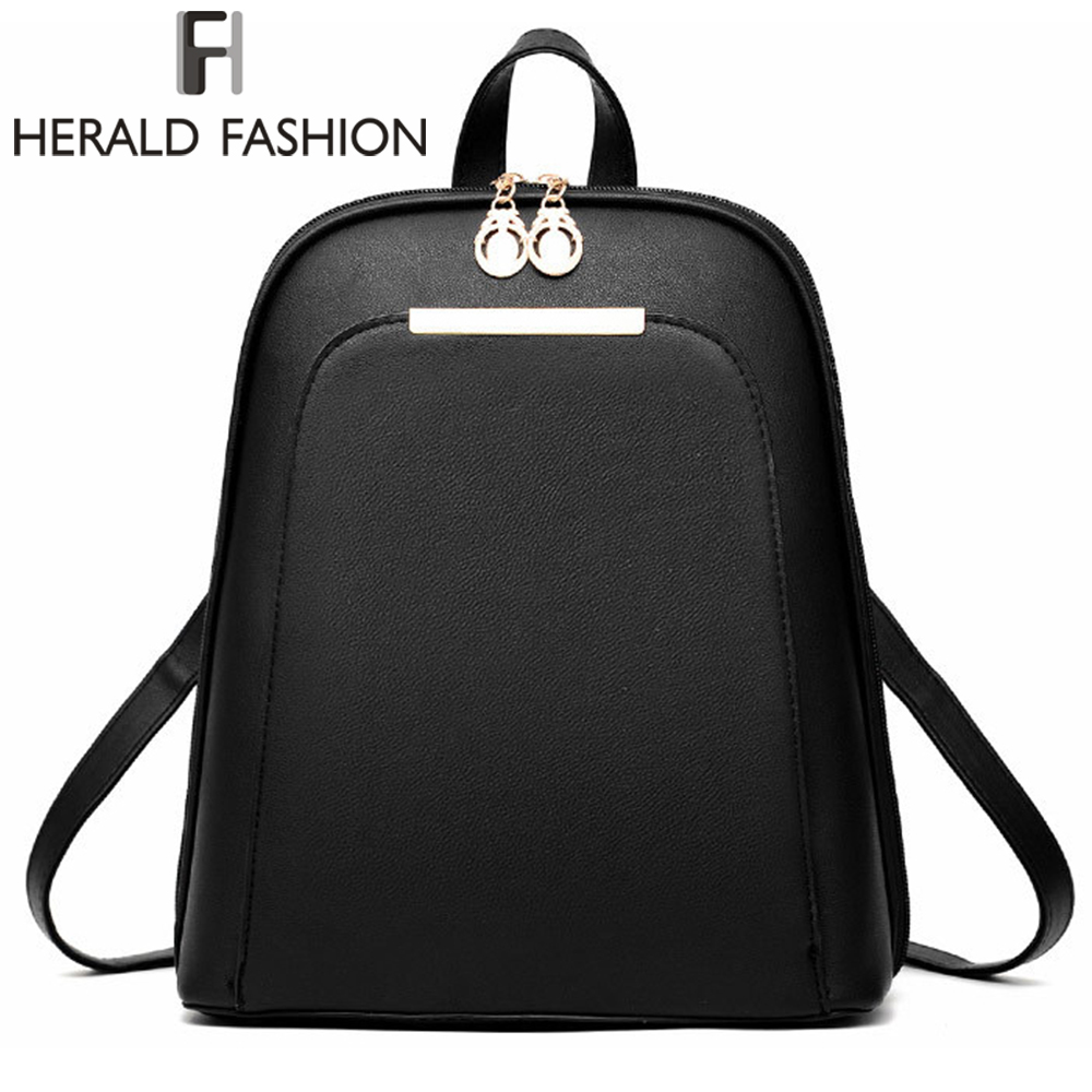 Herald Fashion Casual Student Backpacks School Bags for Teenage Girls Women Leather Backpacks Youth Laptop Backpack Daily Bags backpack women school bags brand backpacks women high quality large capacity teenager backpacks for teenage girls student bags