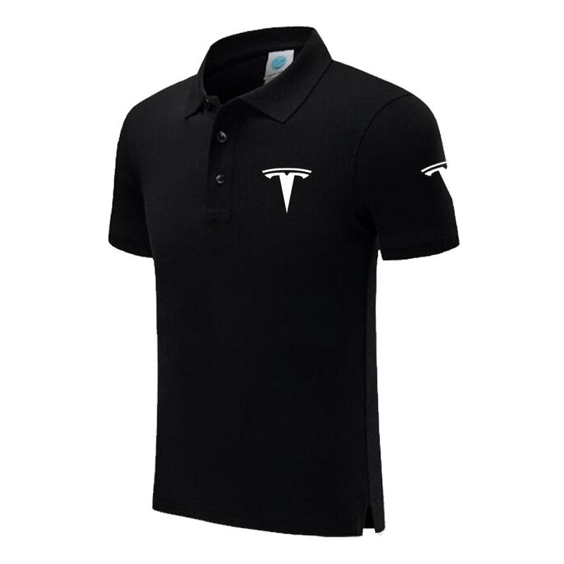 New Brand Tesla logo   polo   shirt Men Short Sleeve Mens Cotton   Polo   Homens printed Casual   polo   shirt
