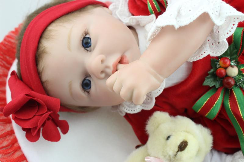 Silicone Reborn Doll with Red Clothes,50 cm Lifelike Baby Reborn Doll Toys for Children's Christmas Gift Free Shipping free shipping new year merry christmas gift 18 american girl toy with clothes silicone lifelike baby doll baby toys girls gift