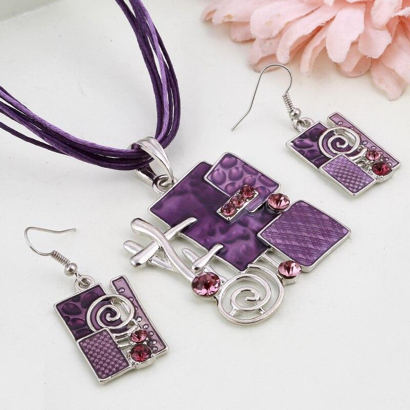 MINHIN Summer Style Enamel Silver Pendant Jewelry Sets