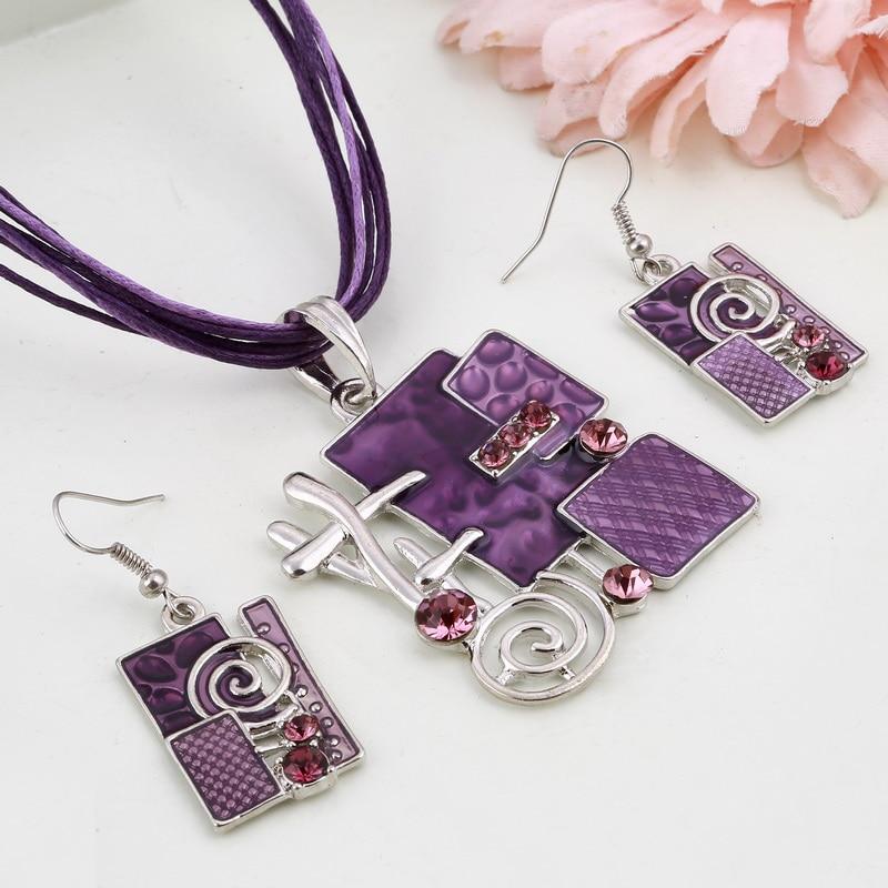 Summer Style Enamel Silver Pendant Jewelry Sets Delicate Lucite Design Multi Colors Geometry Choker Necklace Earrings Set