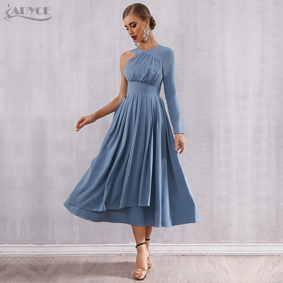 ADYCE 2020 New Summer Celebrity Evening Party <font><b>Dress</b></font> <font><b>Women</b></font> Vestidos <font><b>Sexy</b></font> One Shoulder Long Sleeve Pleated <font><b>Hot</b></font> Bodycon Club <font><b>Dress</b></font> image