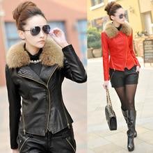 New 2016 Winter Female Coat Women Fashion Raccoon Fur Collar Short Jacket Top Sheepskin Leather Zipper Jackets Plus Size M-5XL