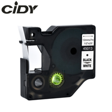 Cidy 100 sztuk kompatybilny DYMO D1 12mm taśma 45013 czarny na białym używany do obsługi dymo labelmanager LM160 LM280 DYMO PNP