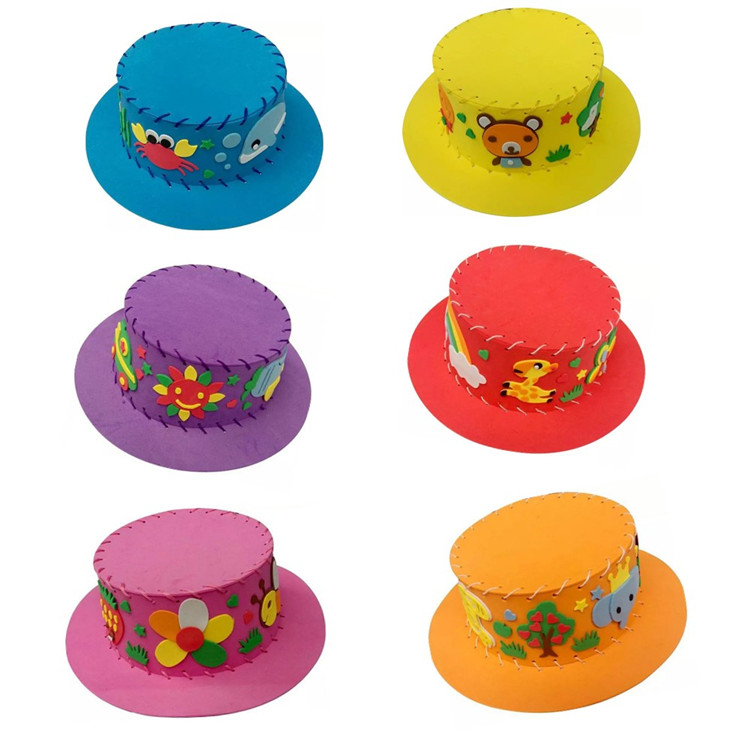 6 pcs set of handmade hat with funny designs free for Craft toys for kids