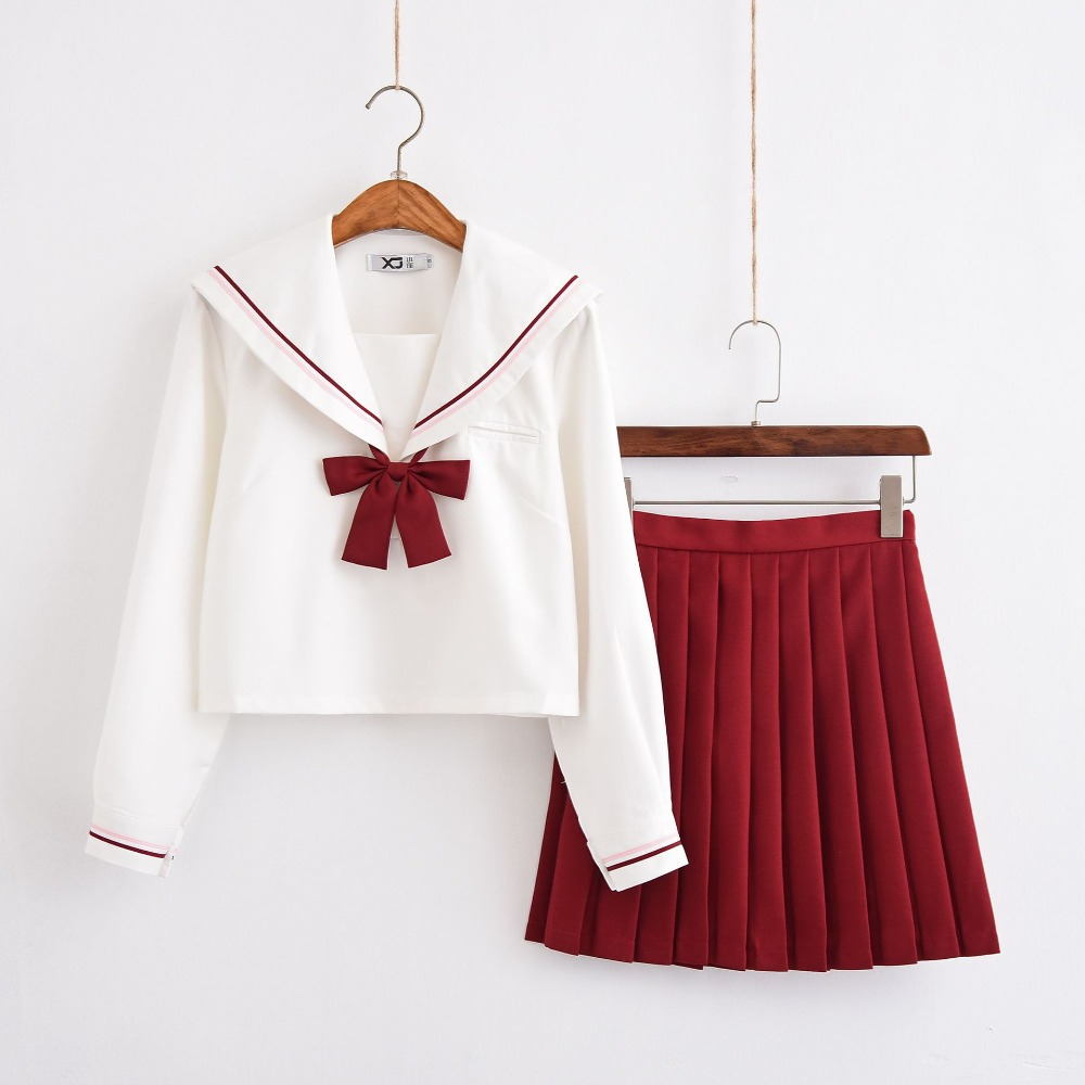 Sailor Suit School Uniform Sets Red Pleated Skirt JK School Uniforms For Girls White Shirt And Red Skirt Suits Student Cosplay