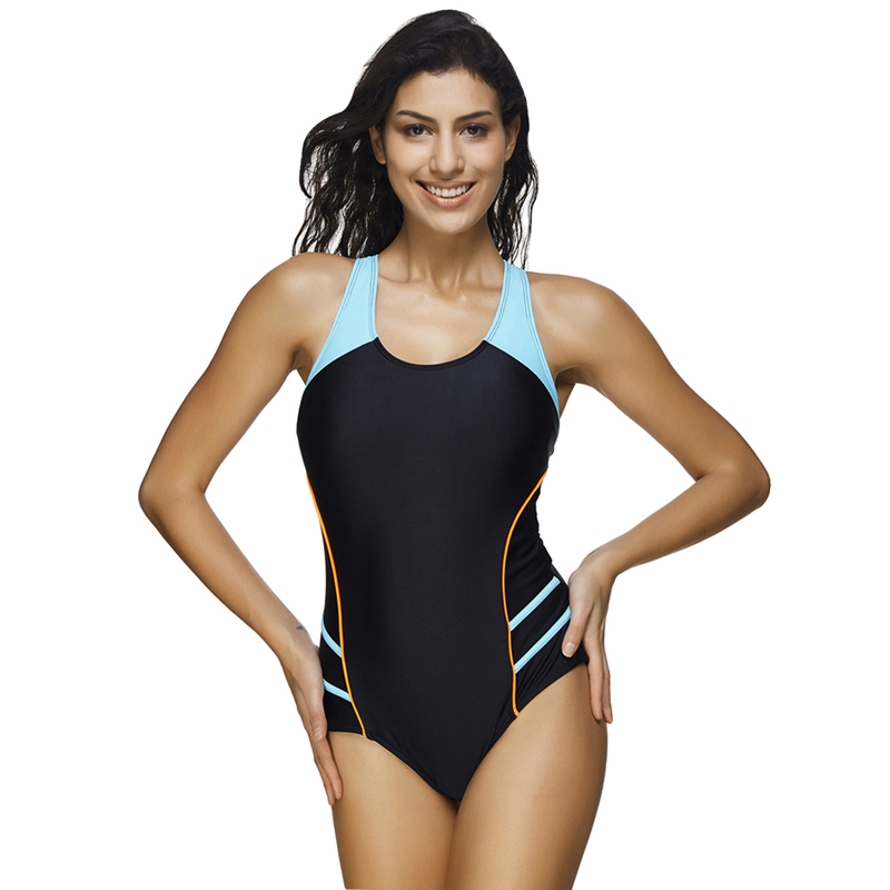 f82f8095d449f Aliexpress.com   Buy JOYMODE Explorer Stripes Front Sports Swimsuit Black One  Piece Swimwear Women Retro Raceback Bathing Suit Plus Size Bodysuit from ...