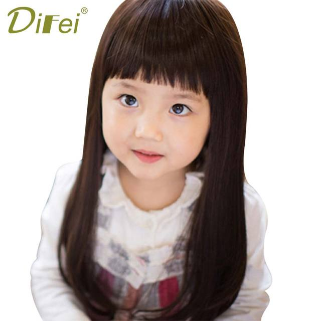DIFEI Long Straight Children Wig Heat Resistant Synthetic Wigs For White  Women Natural Tidy Bangs Hair Pieces 6f12d9c5e