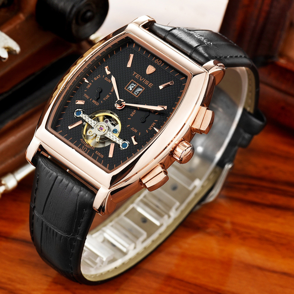 TEVISE Men Tourbillon Automatic Mechanical Watches Waterproof Square Dial Business Casual Relogio Automatico Masculino With BoxTEVISE Men Tourbillon Automatic Mechanical Watches Waterproof Square Dial Business Casual Relogio Automatico Masculino With Box