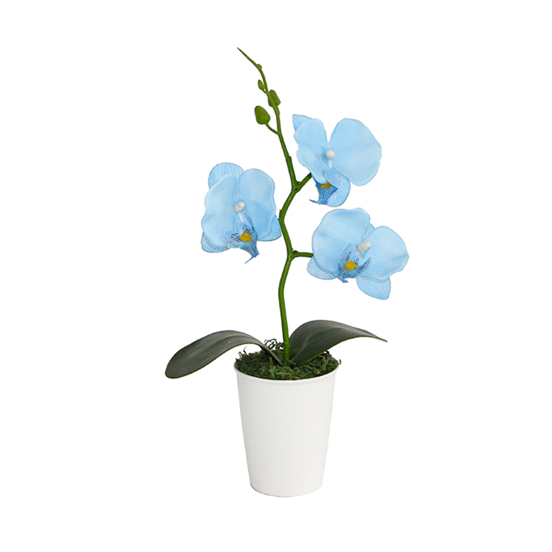 Blue Orchid Silk Flowers With Bonsai Aritificial Plants Fake Leaves