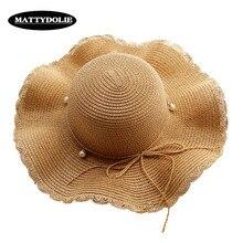 MATTYDOLIE Straw Hat Summer Dome Seaside Pearl Wide Side Vacation Folding Wavy Sun Casual Beach Women