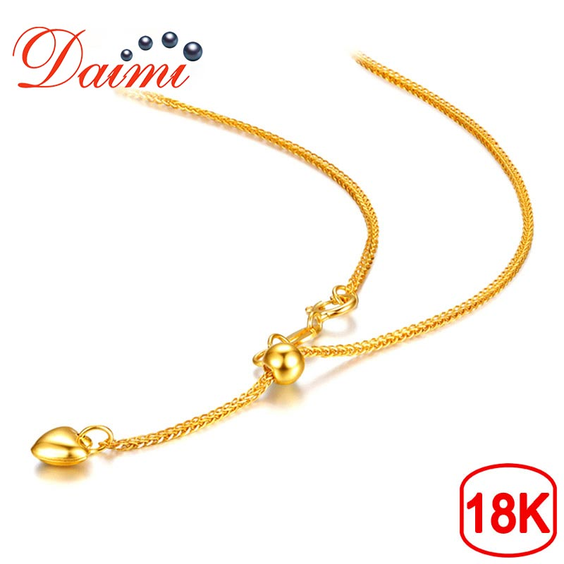 DAIMI 18K Love Pendant White Yellow Rose Gold Chain 1 83g 65cm Pure Gold Necklace Chain