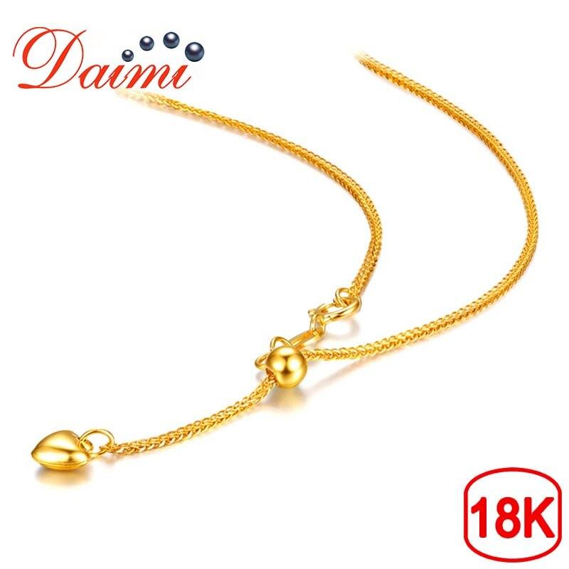Takı ve Aksesuarları'ten Kolyeler'de DAIMI 18K aşk kolye beyaz/sarı/gül altın zincir 1.83g 65cm saf altın kolye zinciri ayarlanabilir kolye zincir takı hediye'da  Grup 1