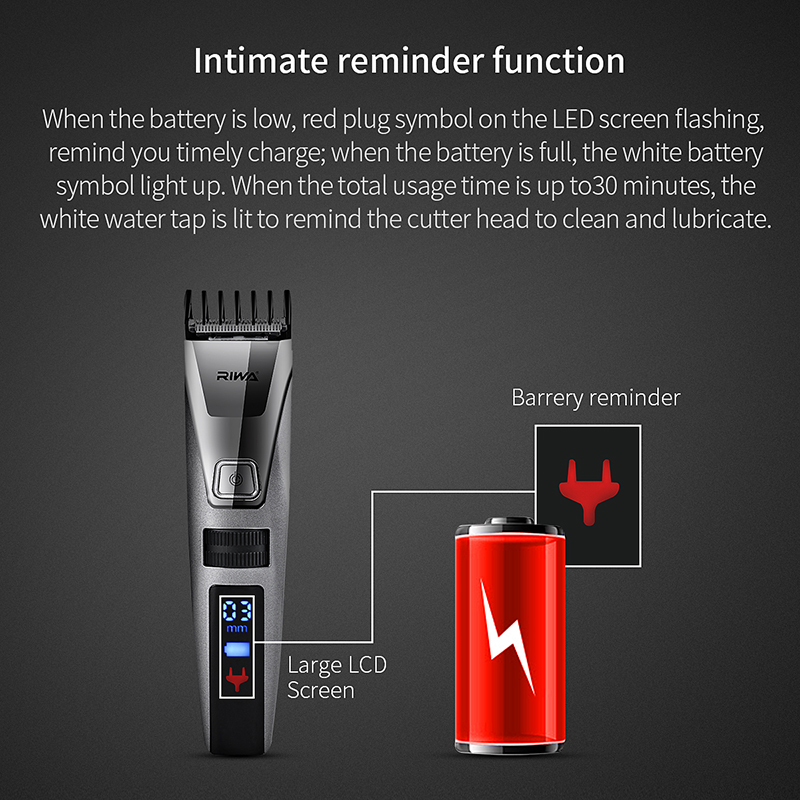 RIWA K3  IPX5 Waterproof Beard Trimmer Electric Hair Clipper Shaver LCD Display Hair Trimmer cortadora de cabello Fast Charging 4