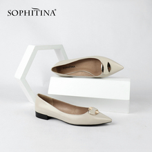 SOPHITINA Stylish Genuine Leather Ladies Flats Casual Pointed Toe Slip-On Shoes Spring Autumn Shallow Low Heel Women Flats MC148
