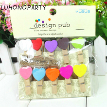 10PCS colorful Love Heart Wooden Clothespin Office Supplies Photo Craft Clips DIY Clothes Paper Peg Party Decoration