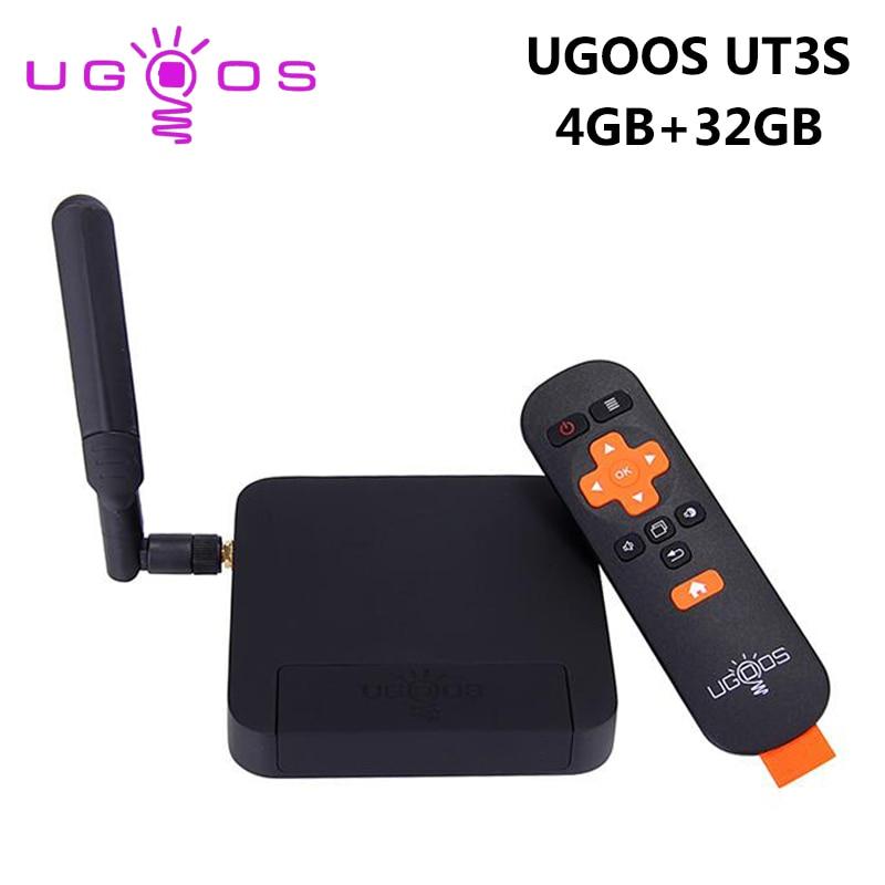 UGOOS UT3S 4GB RAM 32GB ROM Android TV Box RK3288 Quad Core Smart Set Top Box 5G WiFi 1000M LAN Bluetooth 4.0 4K HD Media Player ugoos um3 android4 4 rk3288 2k 4k tv dongle rii i8 black