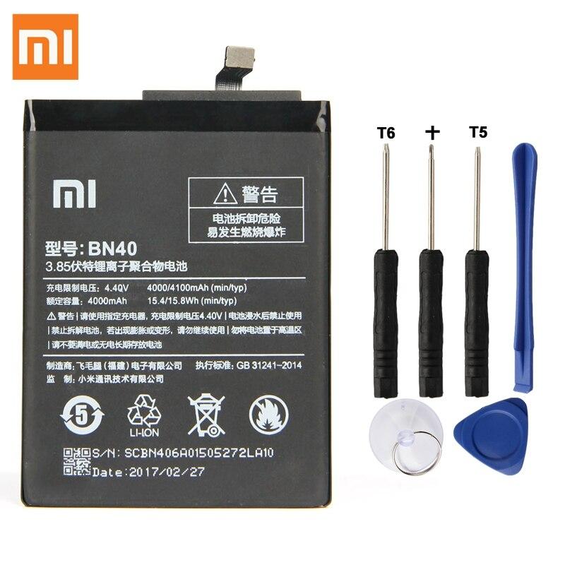 Batterie De Rechange d'origine Pour Xiaomi Redmi 4 Pro Premier 3g RAM 32g ROM Édition Redrice 4 Hongmi 4 BN40 Véritable Batterie 4100 mah