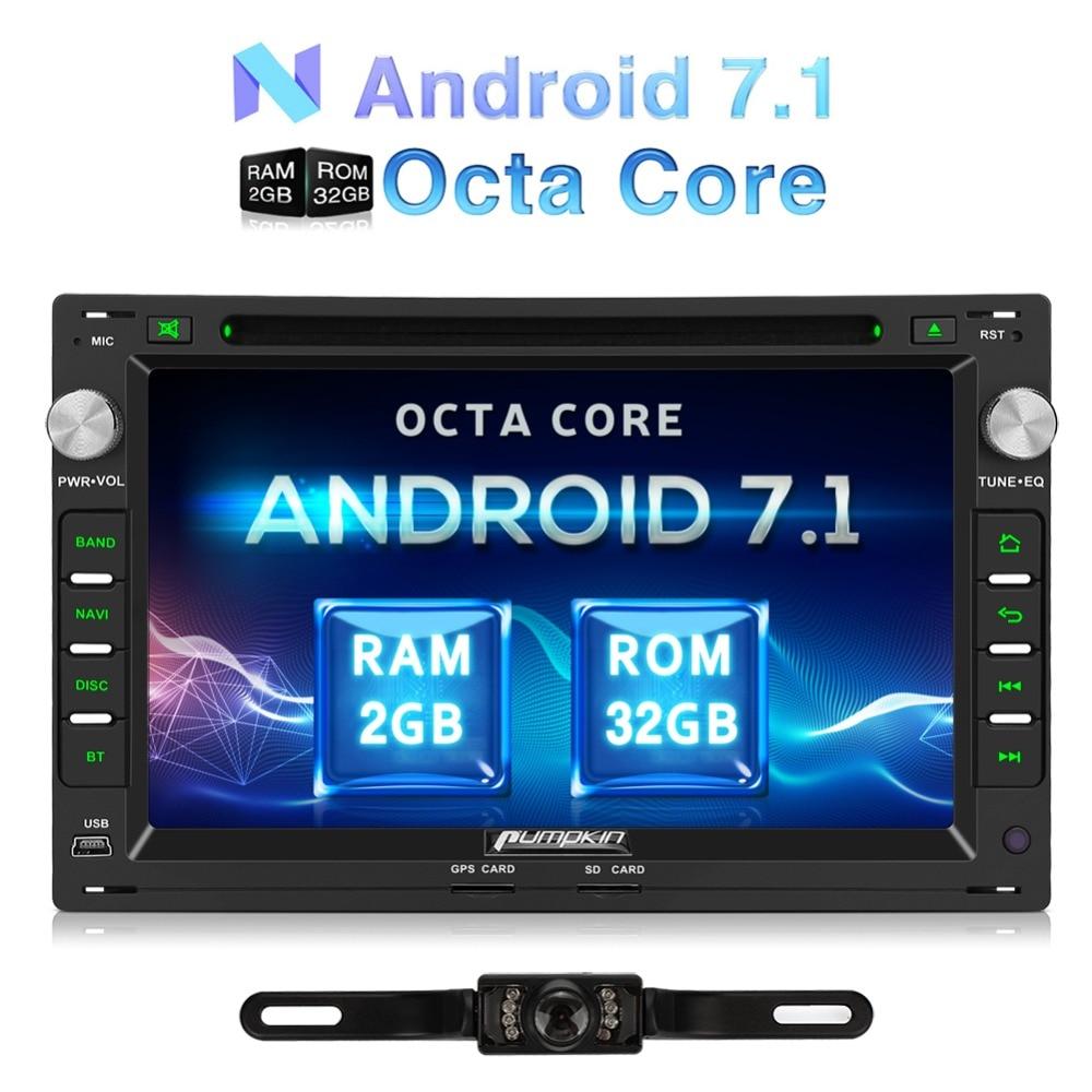 Citrouille 2 Din Android 7.1 Voiture Lecteur DVD GPS Navigation Bluetooth De Voiture Stéréo Pour VW/Golf/Passer Wifi OBD2 FM Rds Radio Headunit