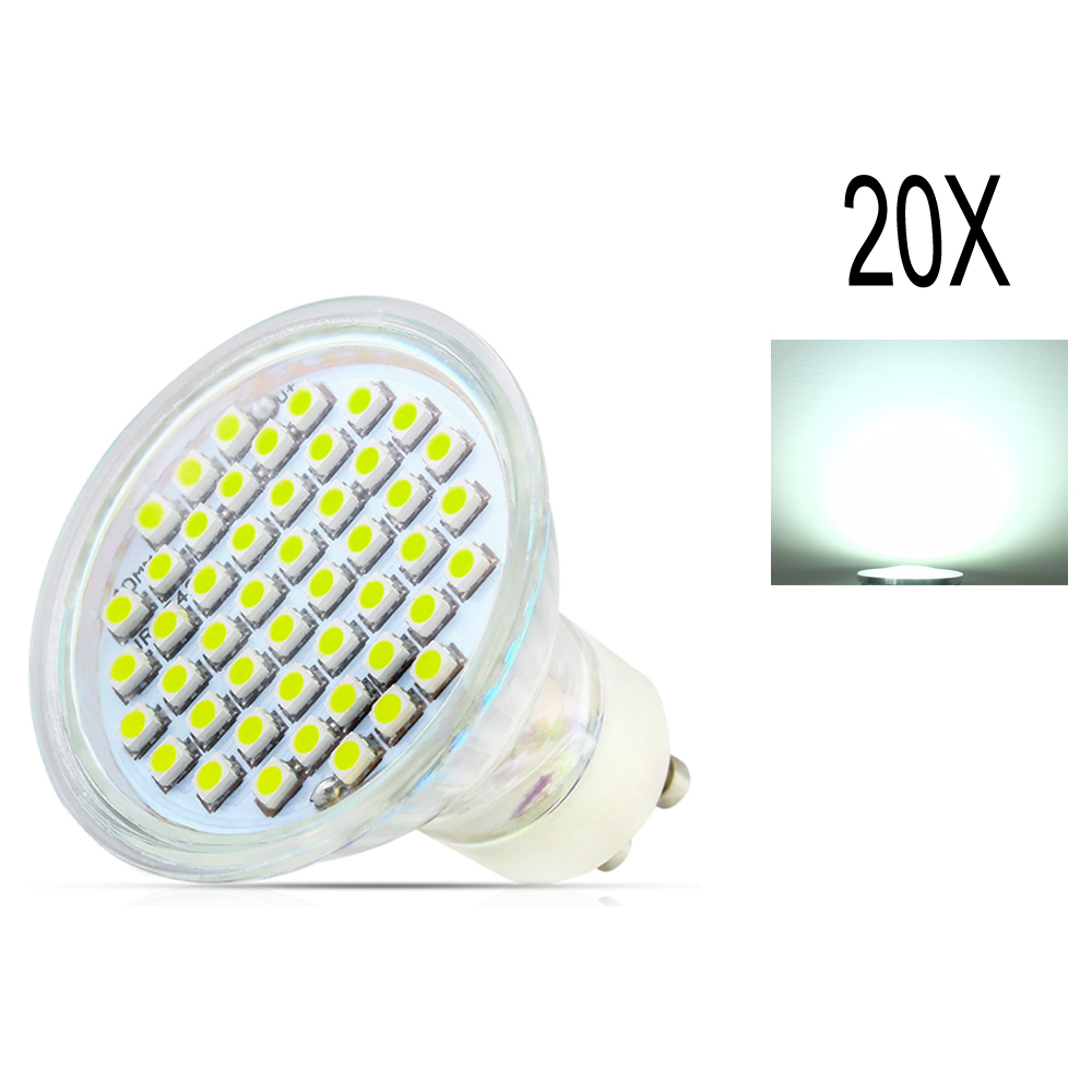 20X LED Lampada lamp GU10 2835 SMD AC110V 220VLed Spotlight Lamp Warm / Cool White Led Bulbs Light With Safety Glass Cover gcd m5 gu10 5w 220lm 2500k 46 x smd 2835 led warm white light car lamp ac 220 240v