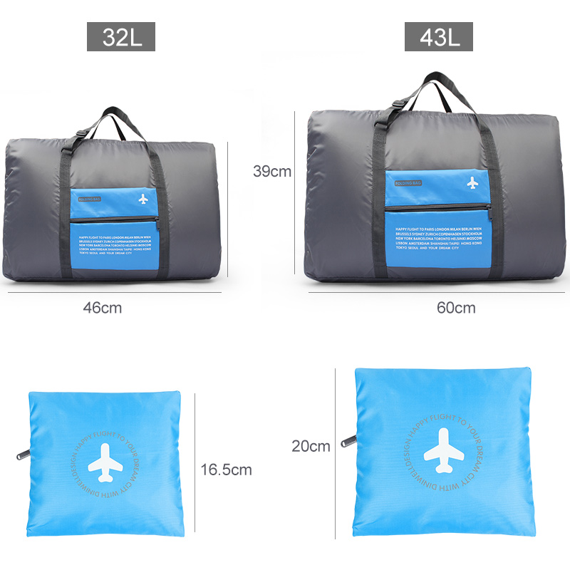 Fashion Waterproof Travel Bag Large Capacity Bag Women Folding Bag Unisex Luggage Travel Handbags Sky Blue