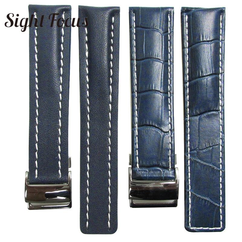 Image 2 - Couro de bezerro pulseiras de relógio para breitling pulseira de  relógio 20mm 22mm 24mm pulseira de couro preto marrom azul cinto  pulseira masculinoPulseira do relógio