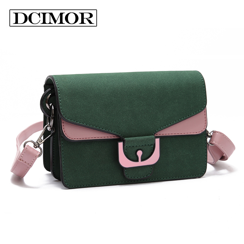 DCIMOR famous brands Women bag high quality Frosted leather messenger bags Female Crossbody Square bag Inclined shoulder bag