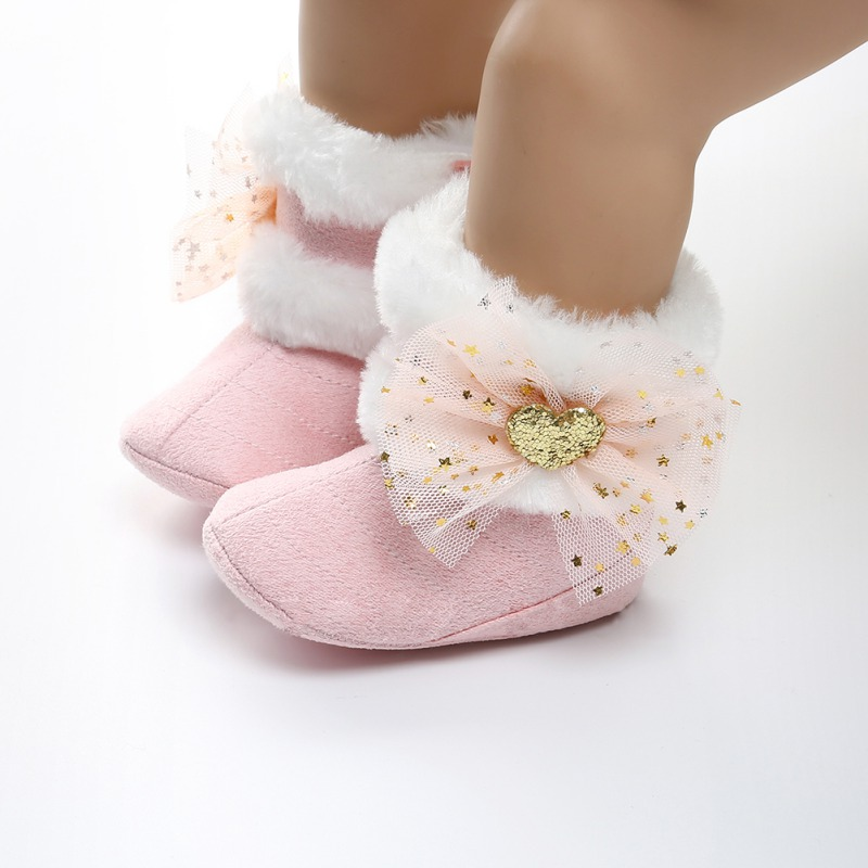 Newest Winter Snowfield Boots Baby Girls Shoes Lace Bow Super Warm Soft Rubber Sole Antislip Booty Booties First Walker